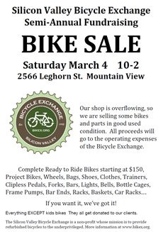 poster: Bike sale March 4 - Mountain View, CA
