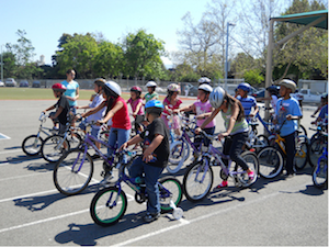 children taking a bike safety class