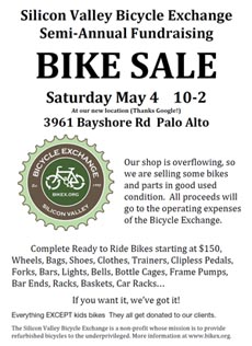 poster: Bike sale May 4 - Mountain View, CA