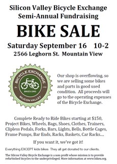 poster: Bike sale September 16 - Mountain View, CA
