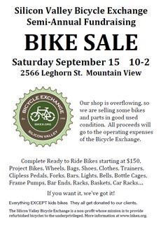poster: Bike sale September 15 - Mountain View, CA