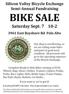 poster: Bike sale September 7 - Palo Alto, CA
