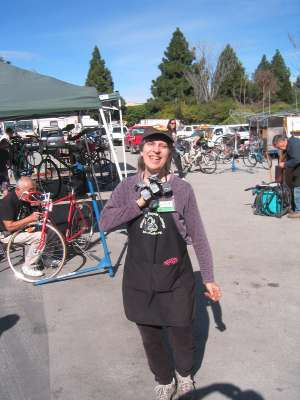 Woman volunteering at bicycle exchange