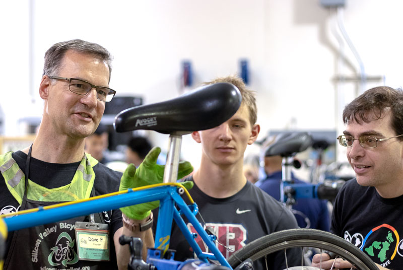 Dave Fork mentors fellow Google employees at a Google Serve Day at Silicon Valley Bicycle Exchange. 6/12/2019. photo: Andrew Yee
